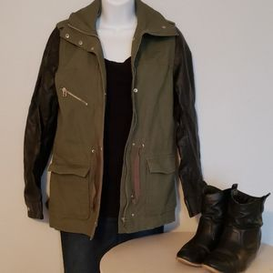 H&M army green utility jacket with leather sleeves